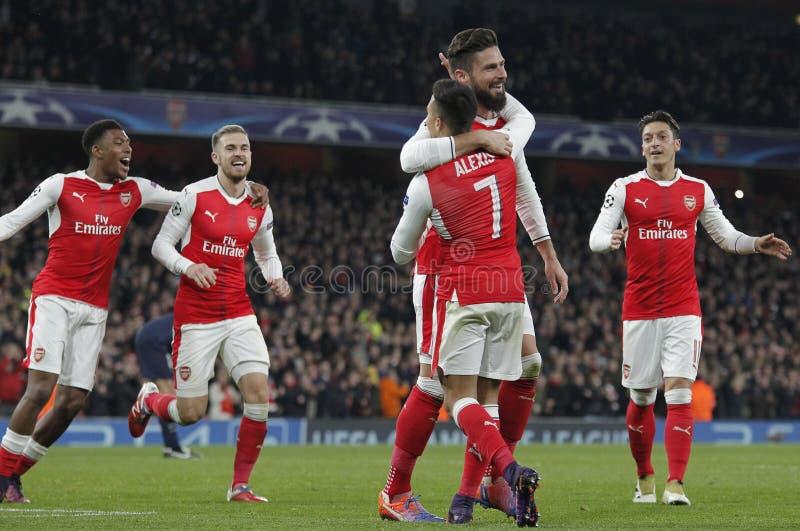 Arsenal FC v Paris St Germain - liga de campeões de UEFA fotografia de stock