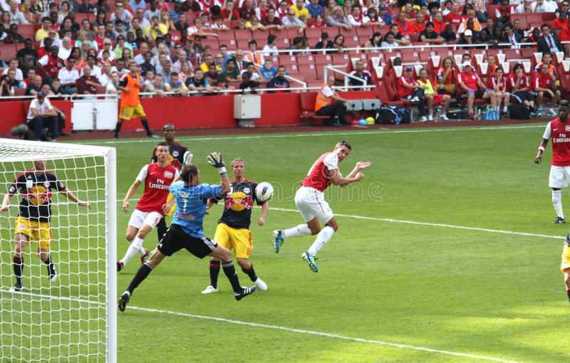 Arsenal scores in Emirates Cup '11 royalty free stock photos