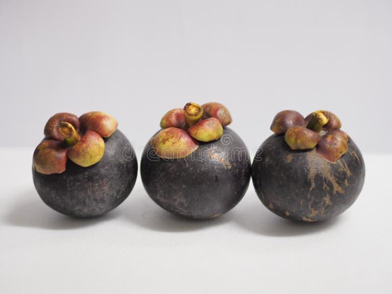 Arsenal tailandés de la fruta tres de la adolescencia de los mangos en el fondo blanco imágenes de archivo libres de regalías