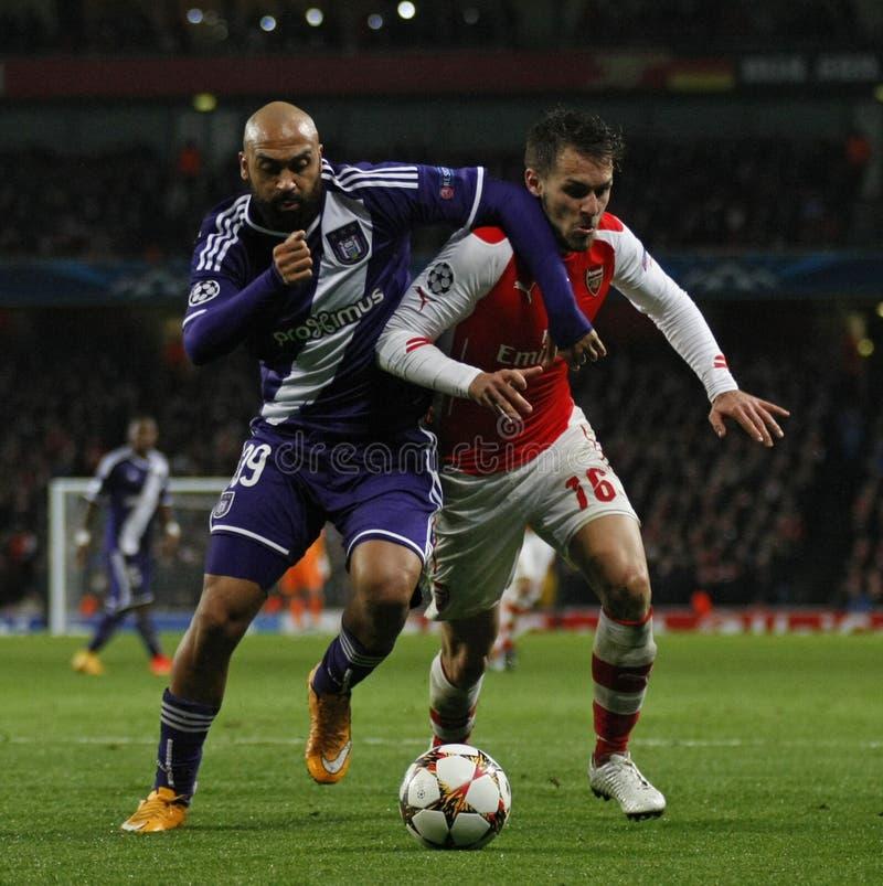 Arsenal v Anderlecht de la liga de campeones de UEFA fotos de archivo libres de regalías