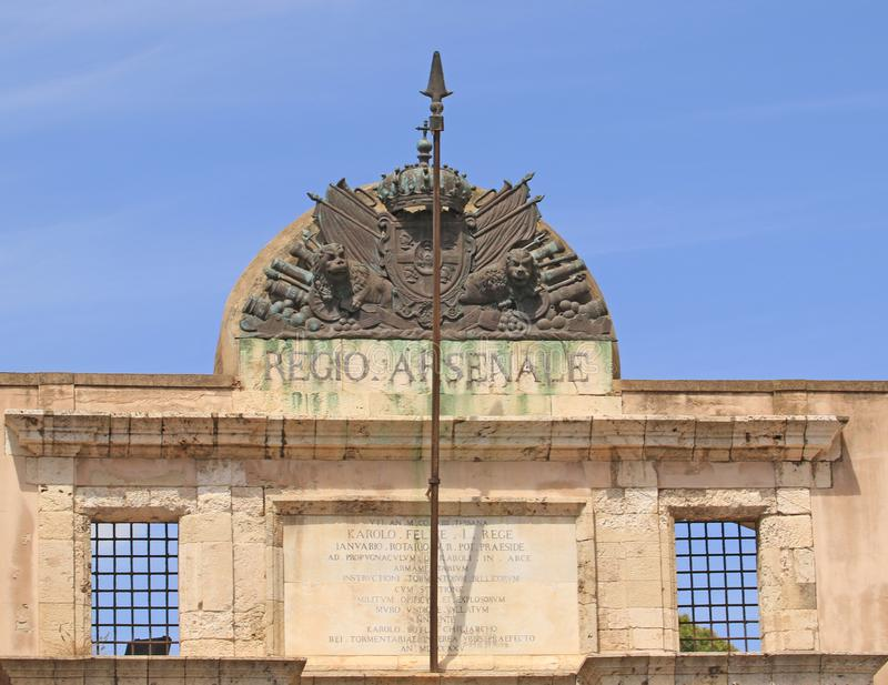 The Arsenale Gate. N Cagliari, in the Castello district, you will find the ancient site of the Regio Arsenale Royal Arsenal, dating back to the Savoy period royalty free stock image