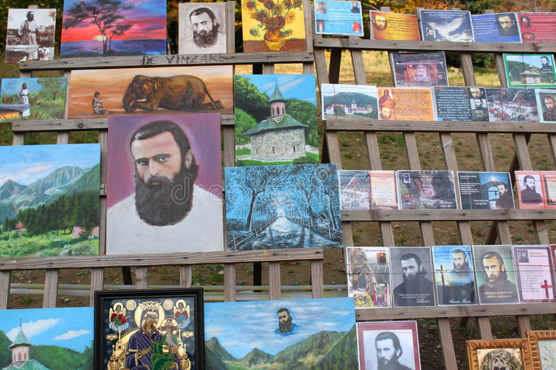 Arsenie Boca - books, paintings and icons royalty free stock images