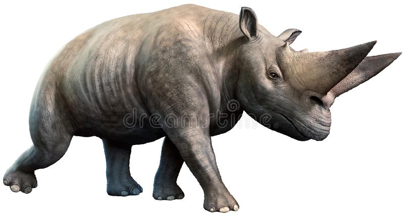 Arsinoitherium da ilustração 3D do Eocene era ilustração do vetor