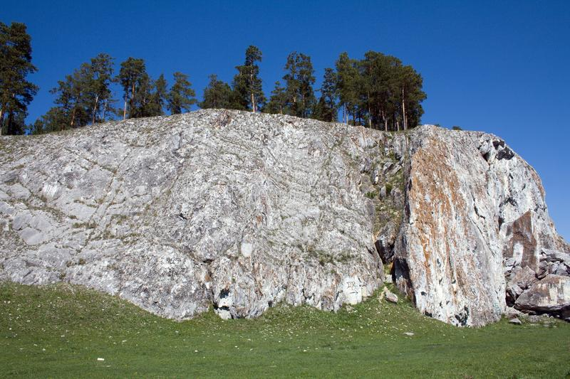 Rock `Arsky stone`. Arsky stone is a natural boundary, a complex natural monument of the Republic of Bashkortostan 1956, a natural monument 1965. The tract is stock photography
