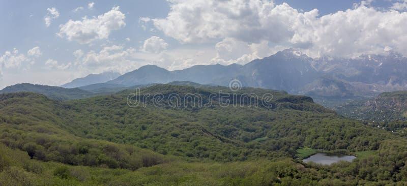 Arslanbob orzecha włoskiego Wielki Dziki las w Jalal Arial Dron krótkopęd fotografia stock