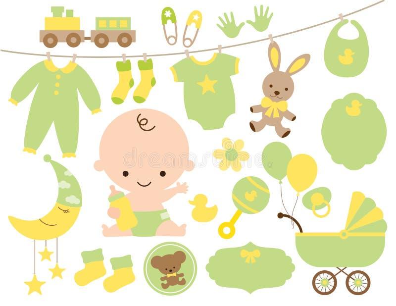 Artículo de la fiesta de bienvenida al bebé fijado en verde y amarillo libre illustration