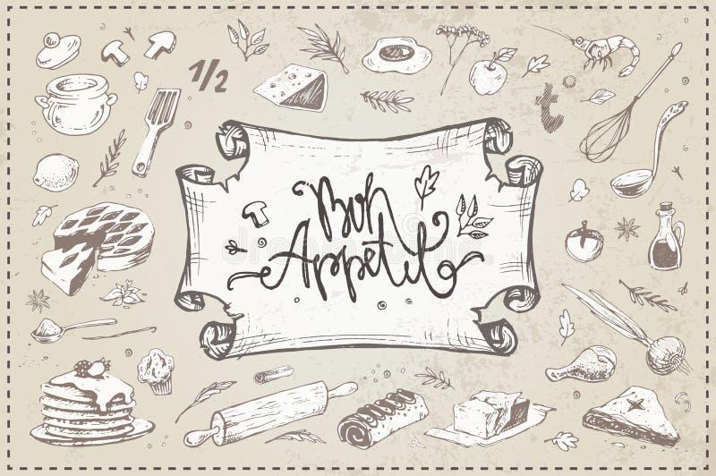 Artículos culinarios exhaustos de la mano, comida, utensilios de la cocina ilustración del vector