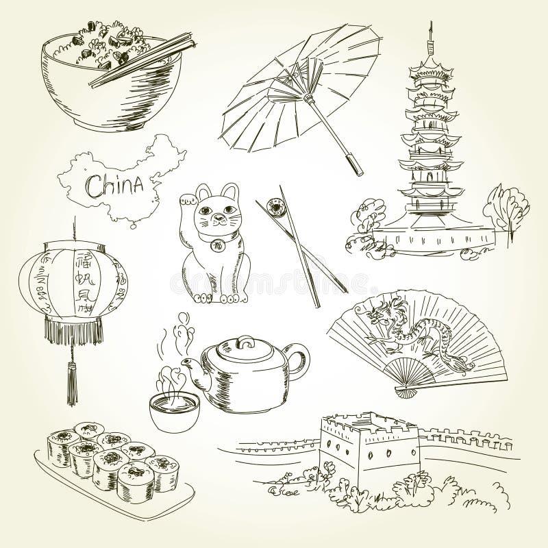 Artículos de China del dibujo a pulso ilustración del vector