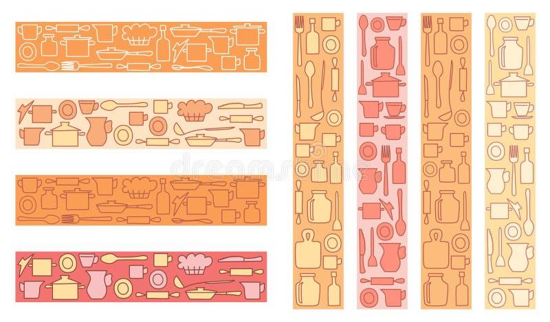 Art?culos de cocina colorido decorativo en el fondo coloreado - decoraciones del vector para la cocina o el men? stock de ilustración