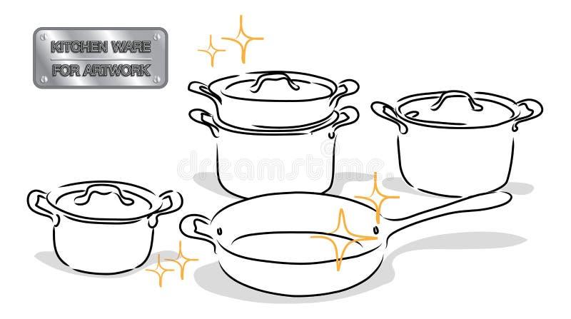 Artículos de cocina del dibujo libre illustration