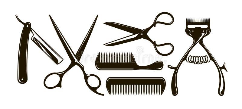 Artículos de la barbería tales como tijeras, peine, maquinilla de afeitar, podadoras de pelo mecánicas Siluetas retras del vector ilustración del vector