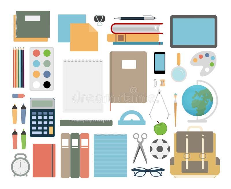 Artículos de la escuela fijados ilustración del vector