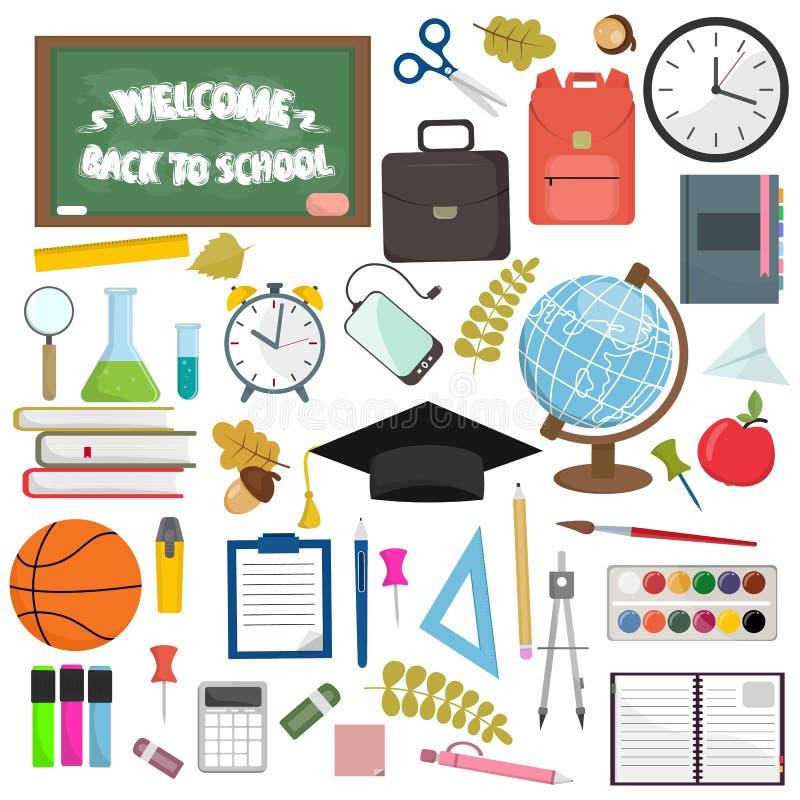 Artículos de la escuela y del lugar de trabajo de la educación Ejemplo plano del vector de las fuentes de escuela ilustración del vector