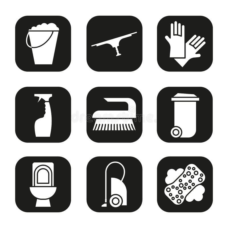 Artículos de la limpieza e iconos de las herramientas fijados Bote de basura, cubo, aspirador, espray, retrete, guantes del cauch ilustración del vector