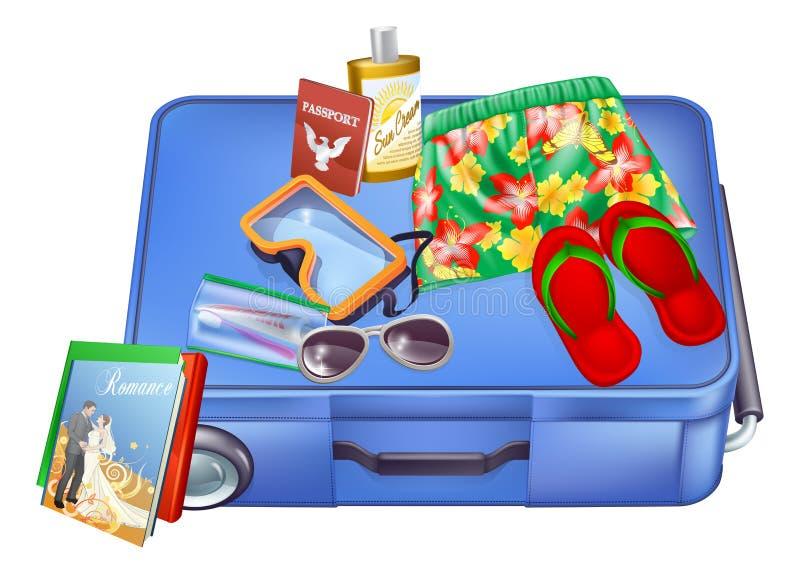 Artículos de la maleta y de las vacaciones ilustración del vector