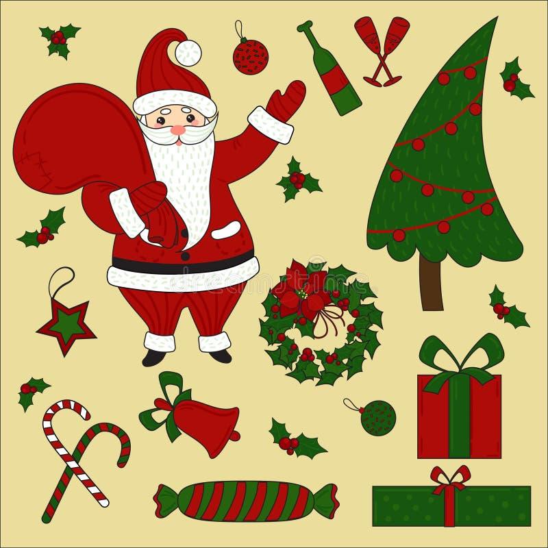 Artículos de la Navidad y sistema de Papá Noel Año Nuevo stock de ilustración