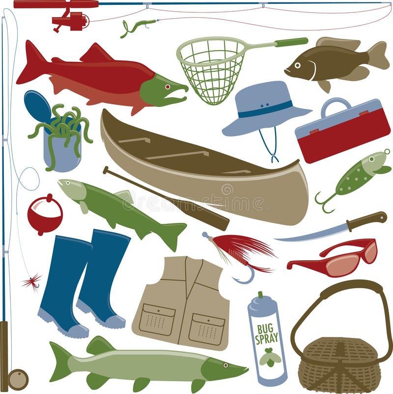 Artículos de la pesca stock de ilustración