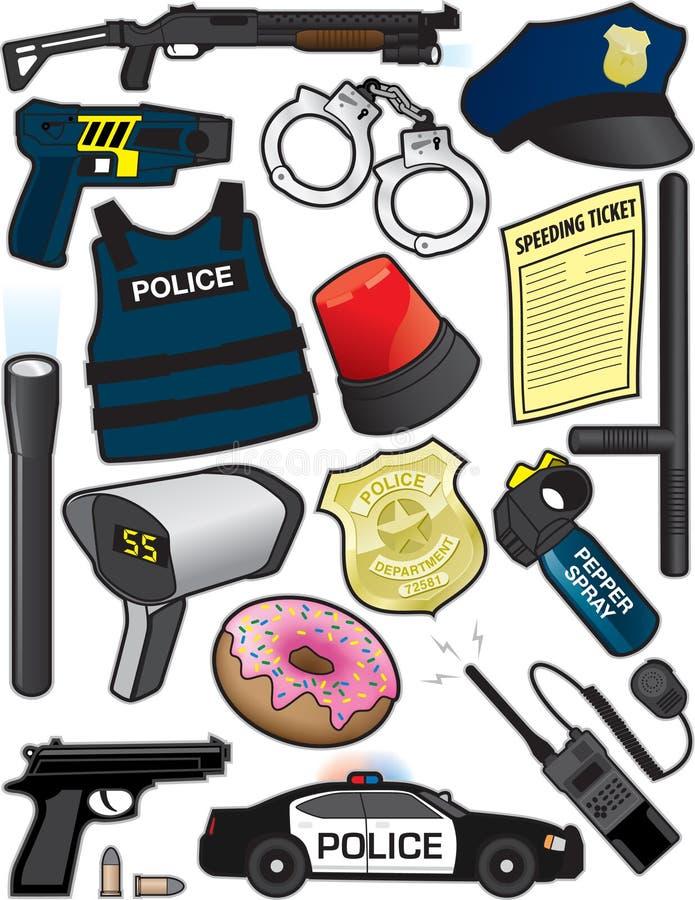 Artículos de la policía ilustración del vector