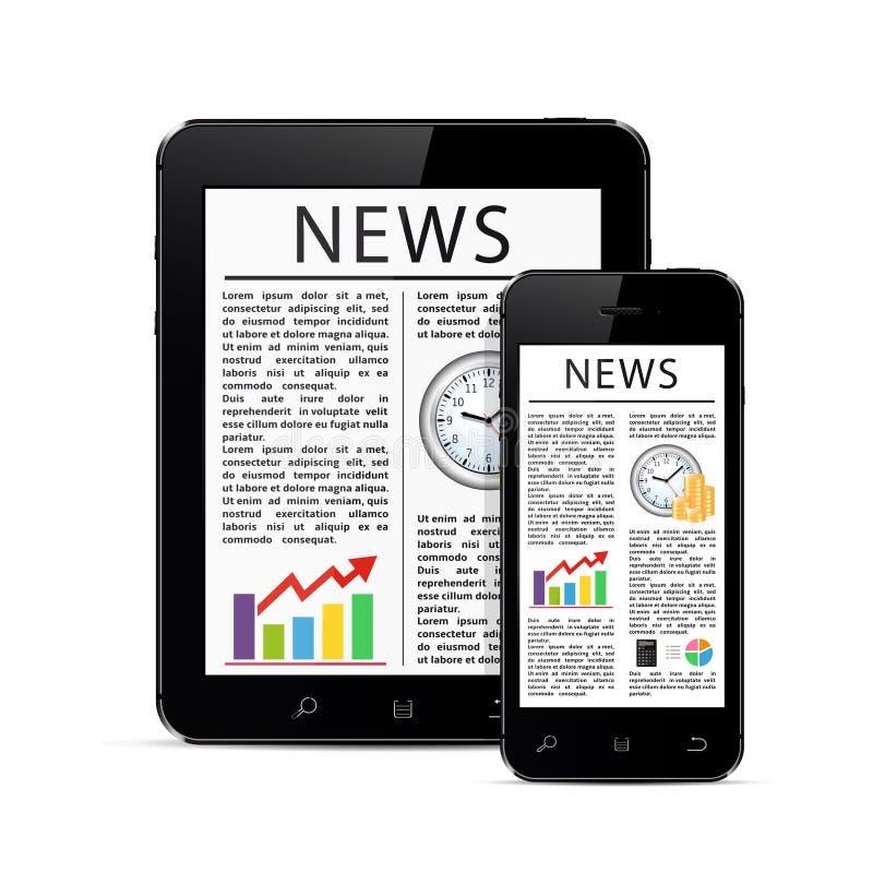 Artículos de noticias sobre la tableta digital moderna y el teléfono elegante móvil ilustración del vector