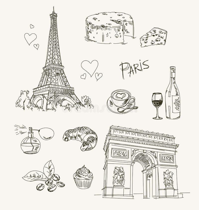 Artículos de París del dibujo a pulso ilustración del vector