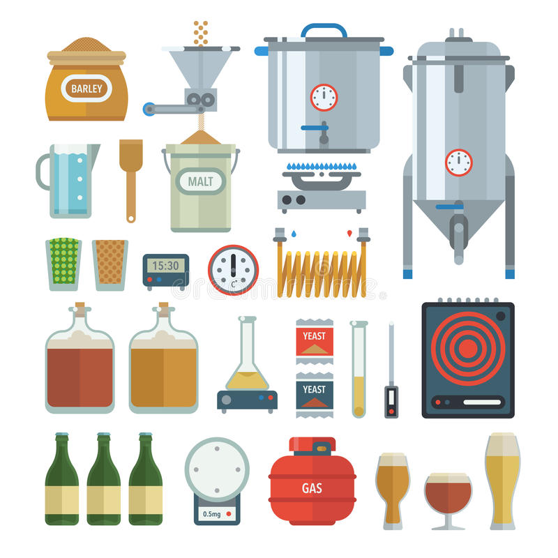 Artículos de proceso de la elaboración de la cerveza casera imagen de archivo libre de regalías