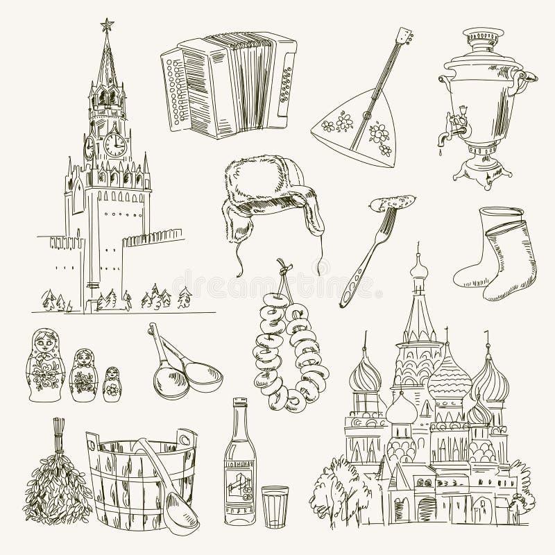 Artículos de Rusia del dibujo a pulso stock de ilustración