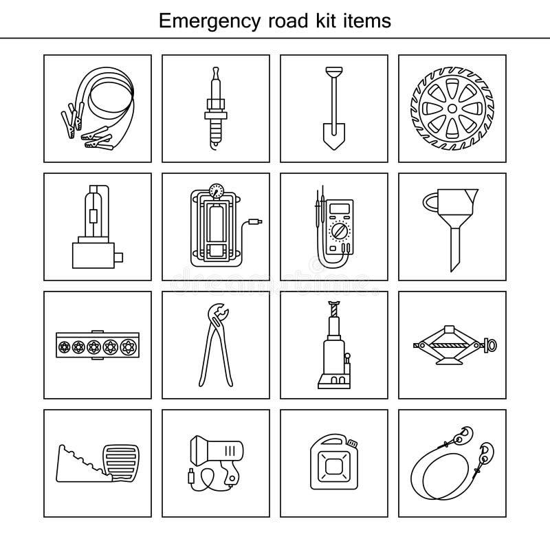 Artículos del equipo del camino de la emergencia stock de ilustración