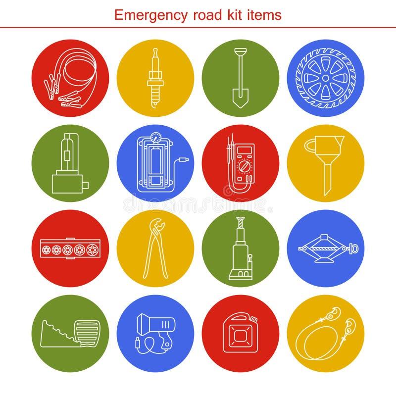 Artículos del equipo del camino de la emergencia ilustración del vector