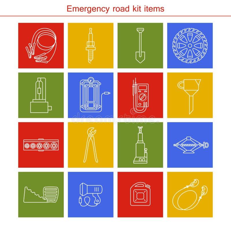 Artículos del equipo del camino de la emergencia libre illustration