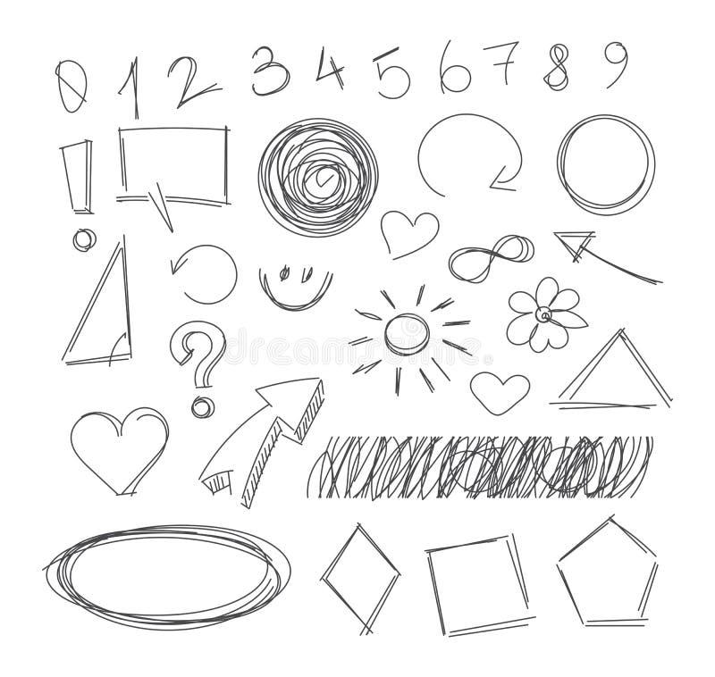 Artículos del garabato del dibujo a pulso libre illustration