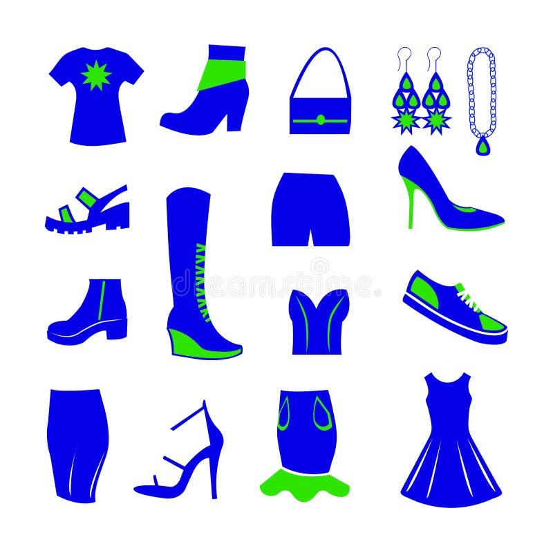 Artículos del guardarropa para las mujeres, el azul y el verde fotos de archivo libres de regalías