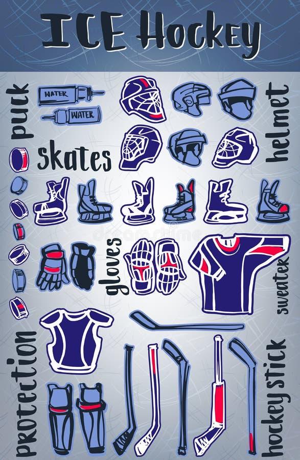 Artículos del hockey sobre hielo del vector El equipo y protege Tema de los juegos del invierno o diseño del campeonato que se di stock de ilustración