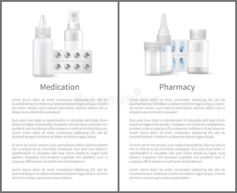 Artículos del medicamento de los carteles de la medicación y de la farmacia ilustración del vector