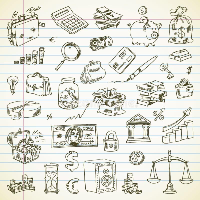 Artículos del negocio y de las finanzas del dibujo a pulso ilustración del vector