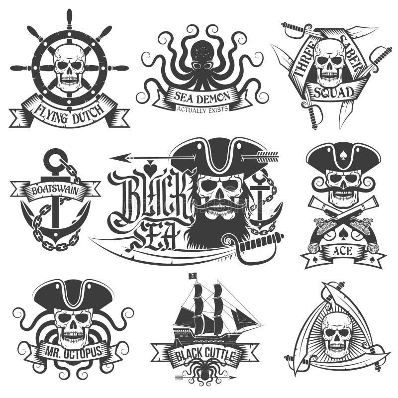 Artículos del pirata stock de ilustración