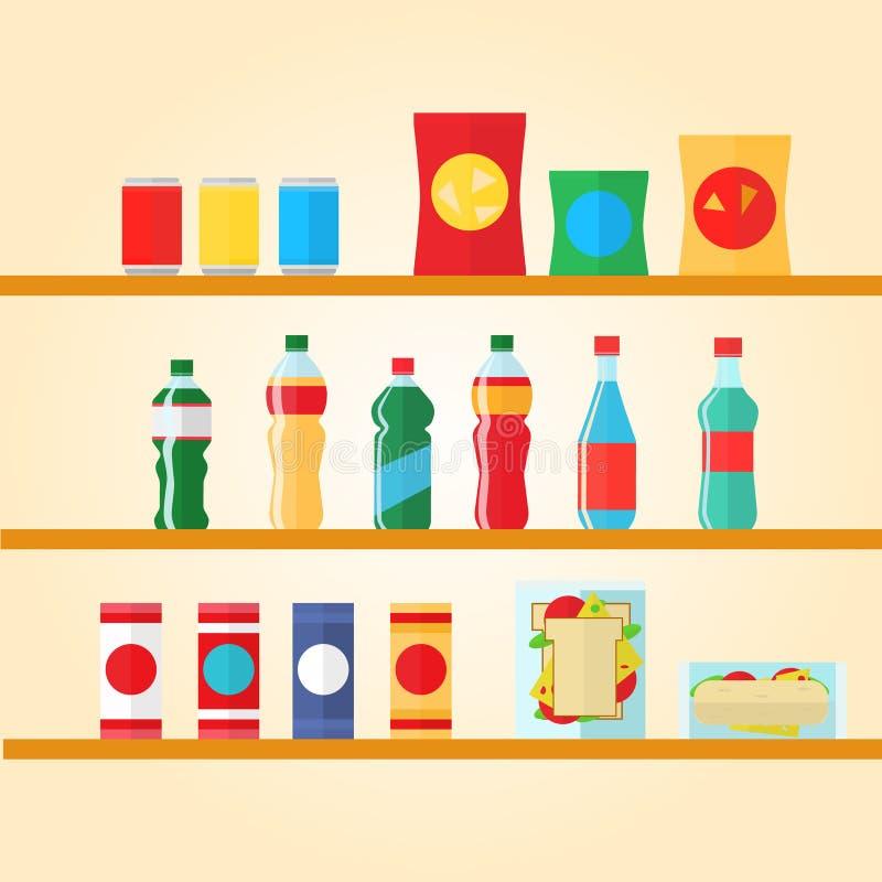 Artículos del producto de la máquina expendedora fijados Ejemplo del vector en estilo La comida y las bebidas diseñan iconos de l ilustración del vector