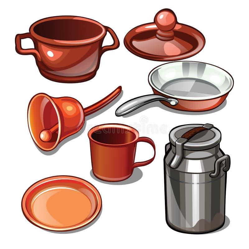 Artículos del vajilla y del hogar hechos del metal aislado en un fondo blanco Ilustración del vector stock de ilustración