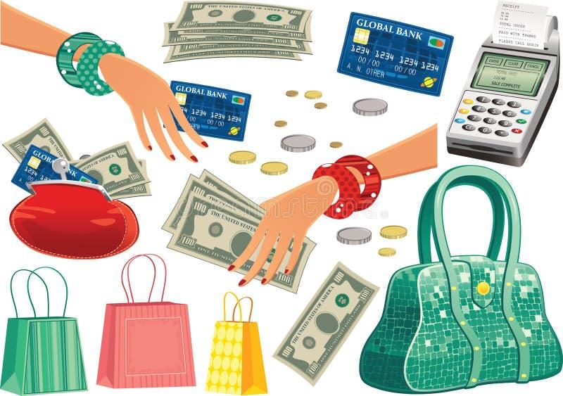 Artículos del viaje de las compras ilustración del vector