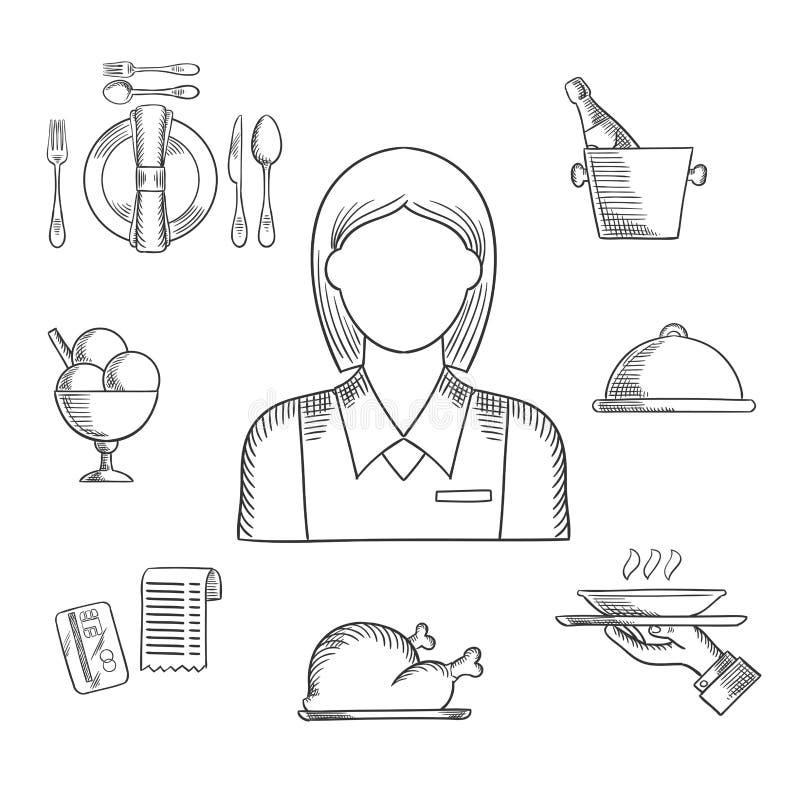 Artículos dibujados mano de la camarera y del restaurante libre illustration