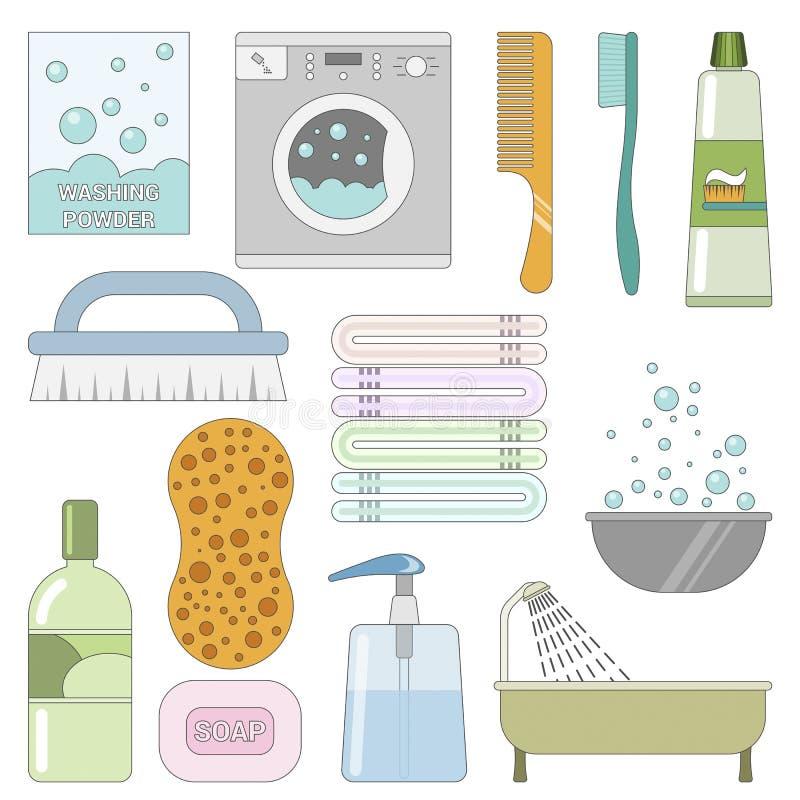 Artículos en el cuarto de baño Sistema de iconos planos ilustración del vector