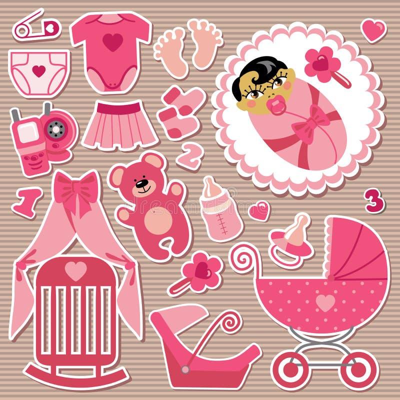 Artículos lindos para el bebé asiático. Pela el fondo stock de ilustración