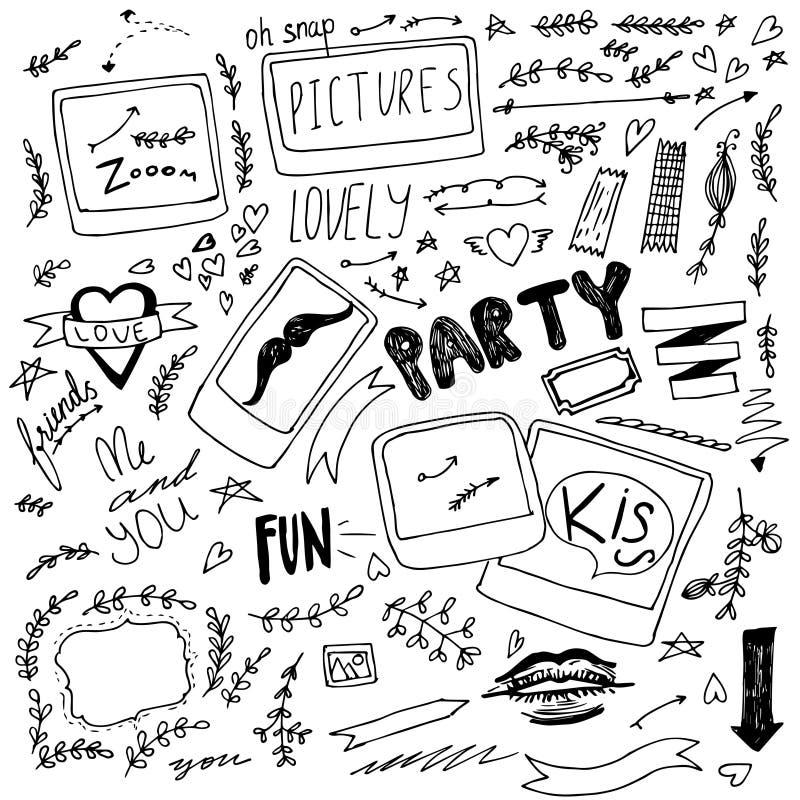 Artículos polaroid dibujados mano del partido del garabato stock de ilustración
