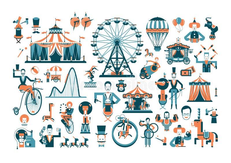 Artículos relacionados con el funcionamiento del circo lindo stock de ilustración