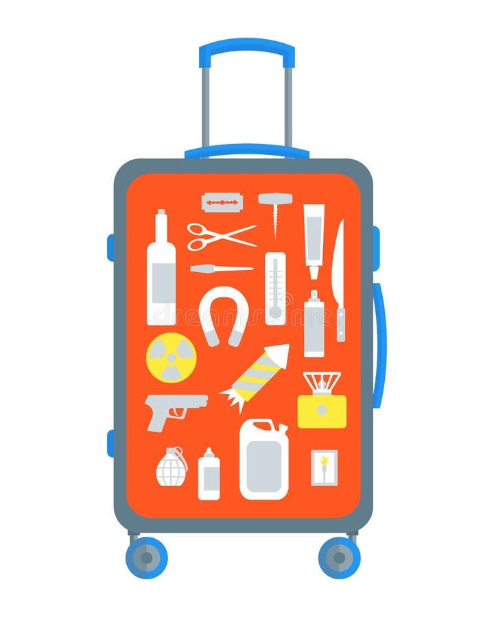 Artículos restrictos fijados en la maleta planos Vector ilustración del vector