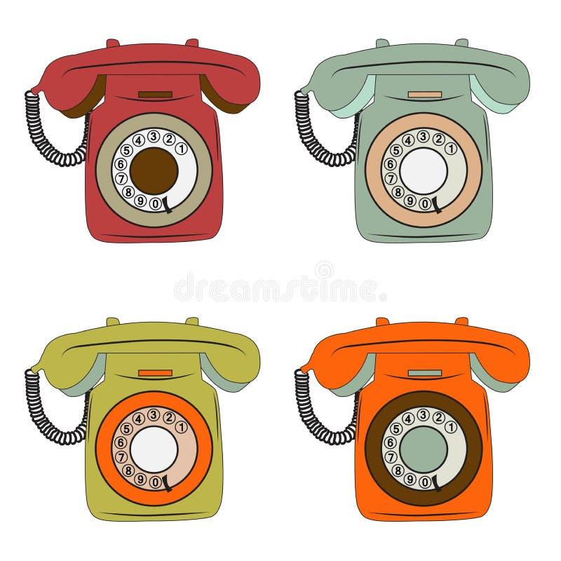 Artículos retros del teléfono fijados en blanco libre illustration