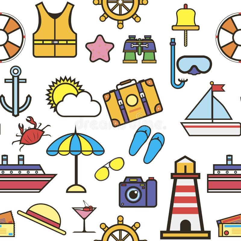 Artículos vacaciones del verano y el viajar y turismo inconsútiles del modelo de los días de fiesta stock de ilustración