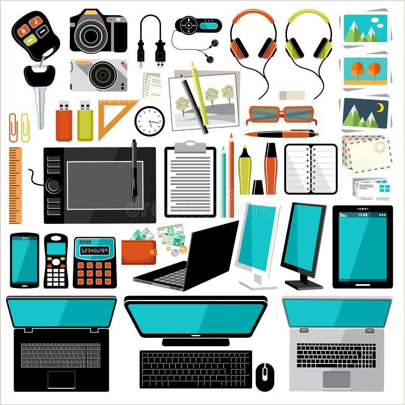 Art culos y accesorios de la oficina ilustraci n del vector ilustraci n de jugador papel - Articulos de oficina ...