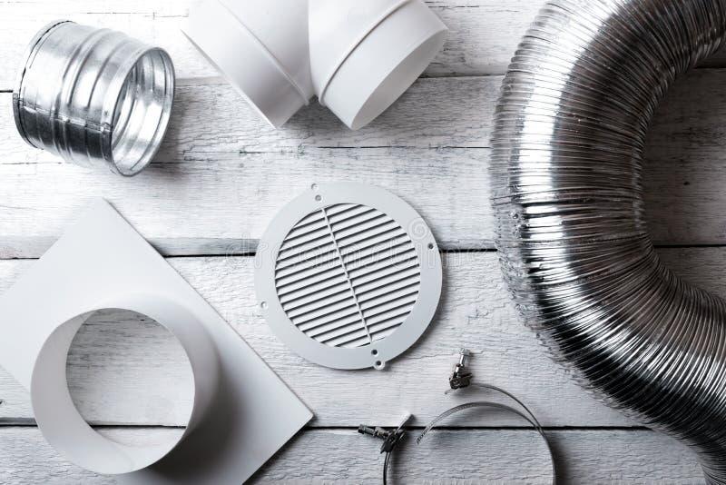 Artículos y juntas del sistema de ventilación Visión superior imagenes de archivo