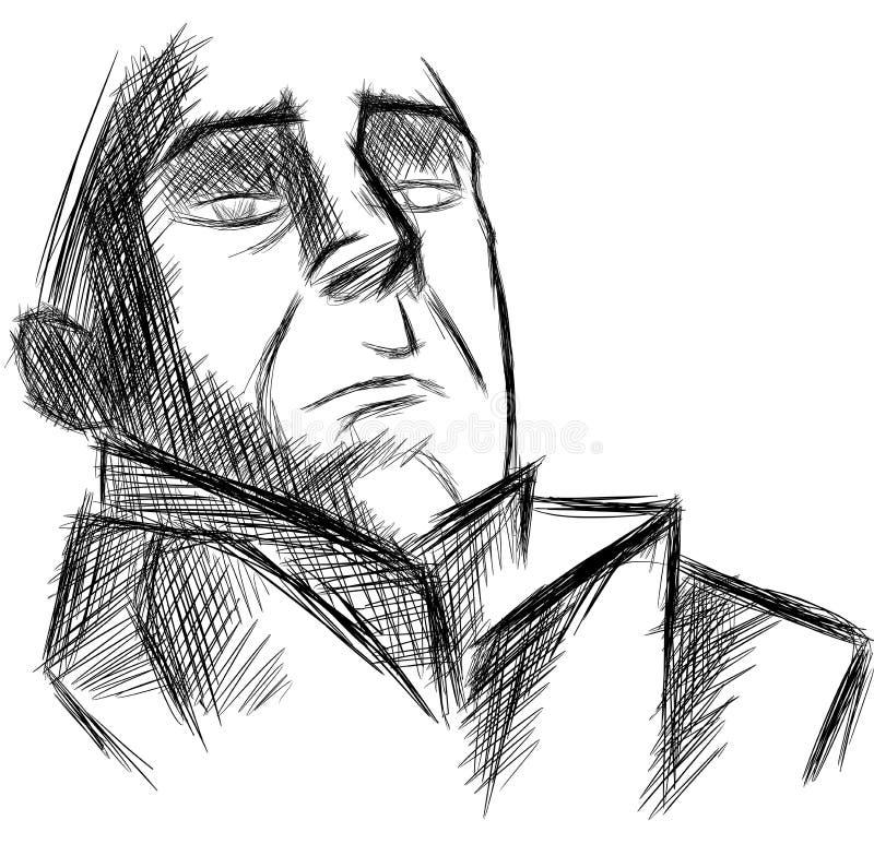 Artístico aislada del retrato del hombre aislado libre illustration