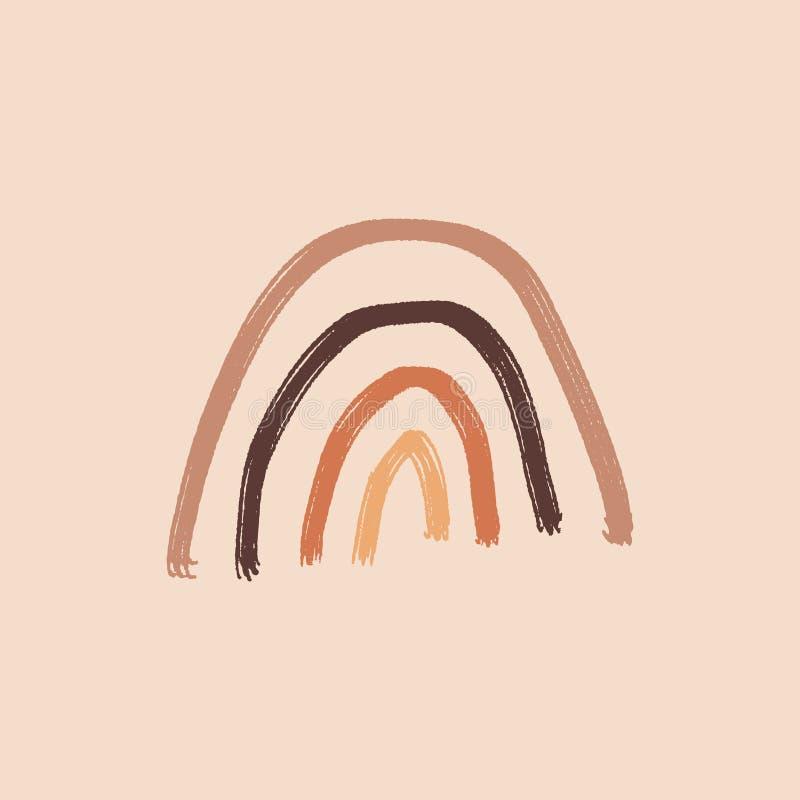 Artístico Moderno Terracotta Pastel Paleta Simples Elemento Primitivo Ornamento Infantil Arco-Íris Fundo Gráfico desenhado à mão ilustração stock